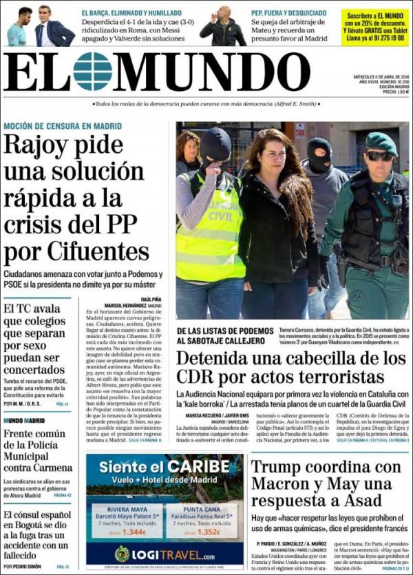 Portades: La caverna mediàtica aplaudeix la detenció per terrorisme de la jove dels CDR ! directe!cat